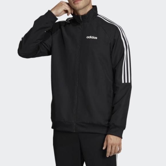 ADIDAS Mens Trio Black Full Zip Windbreaker Soccer Jacket Coat Size XL